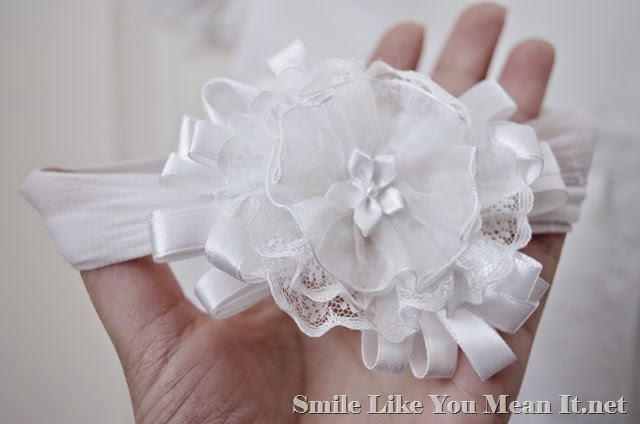 Blessing Day Headband with lace and tulle and satin
