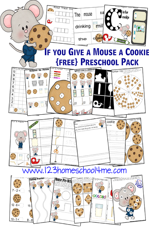 FREE Iif you Give a Mouse a Cookie worksheets for preschool, preK, kindergarten, first grade to help kids learn the letter c, math, pre writing, subtractions, and more.
