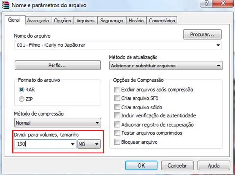 Dividir arquivo no WinRAR