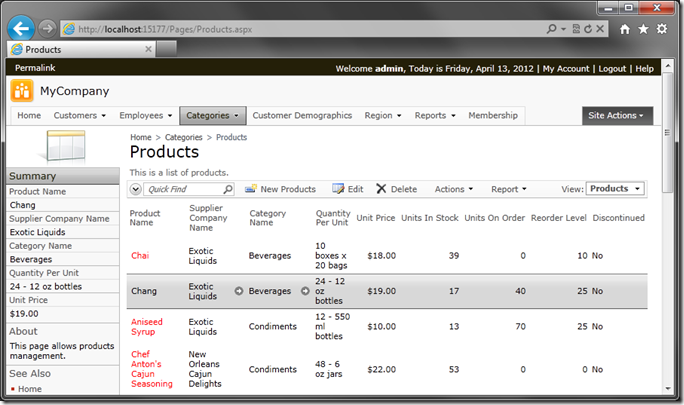 Product selected on Products page in web application generated with Code On Time