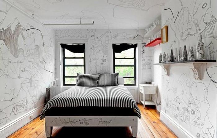 desenho nas paredes do quarto