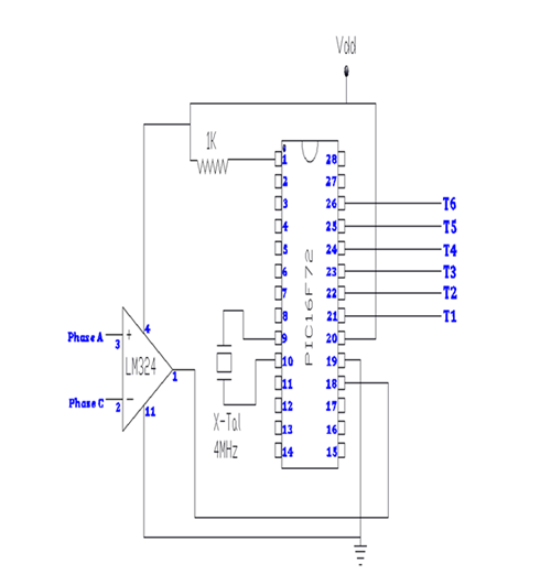 Connection diagram of PIC16F72 for SCR module