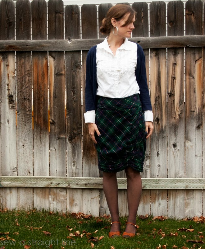 wool plaid skirt refashion sew a straight line-10