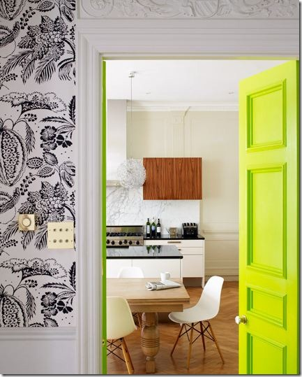 neon green yellow interior door via lucas allen