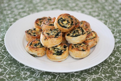 Spinach and Feta Pinwheels just waiting to be eaten