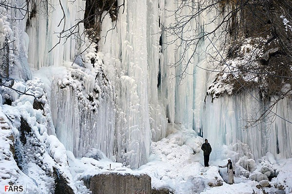 Frozen Akhlamad Waterfall in Khorasan, Iran