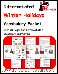 Use this vocabulary packet to help your students learn about Winter Holidays.