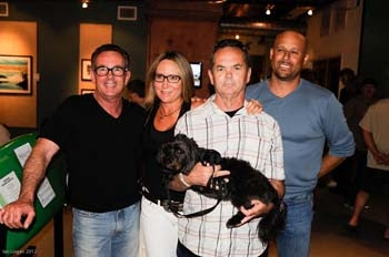 Brad Logan, Laura Thornhill, Bruce Logan and Little Eddie Katz with Bruce's dog Ringo at the Need For Speed Event at the Calif. Surf Musuem in 2012.