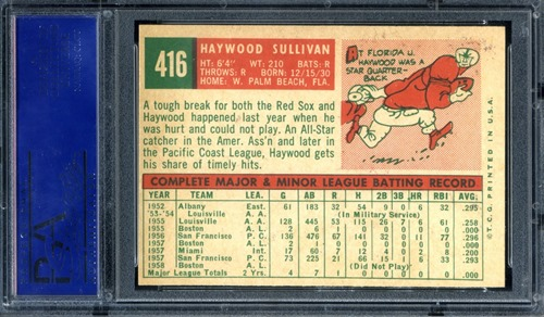1959 Topps 416C haywood sullivan back normal
