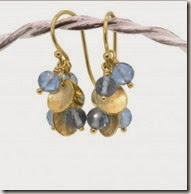 Lilia Nash Blue Topaz and 18ct Gold Petal Earrings