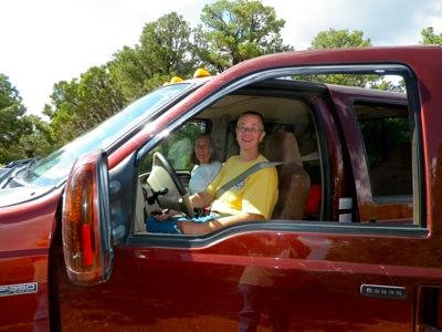 Annie driving Gaelyn's truck