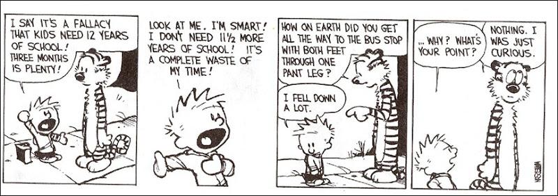 Calvin & Hobbes quanto tempo de escola é preciso