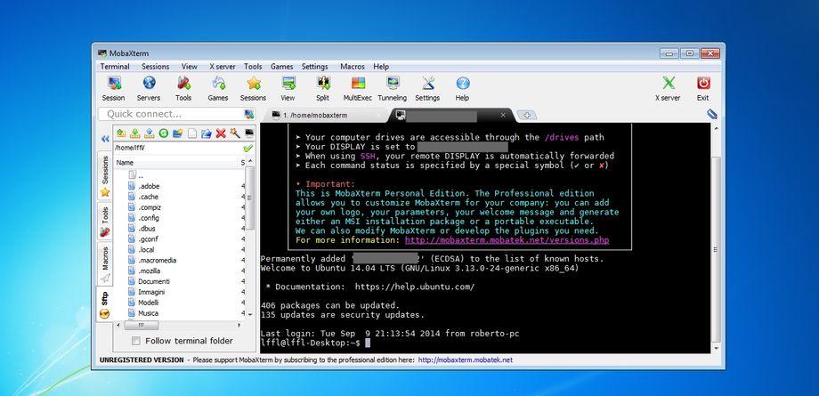 MobaXterm in Microsoft Windows