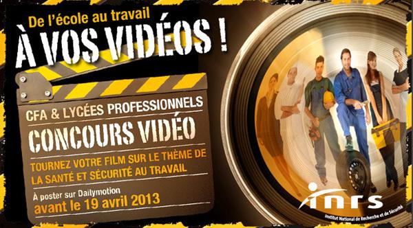 concours INRS/Dailymotion à vos vidéos de l'ecole au travail