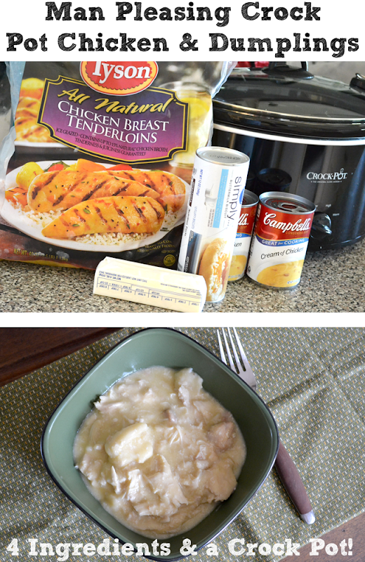 Man Pleasing Crock Pot Chicken and Dumplings - only four ingredients!