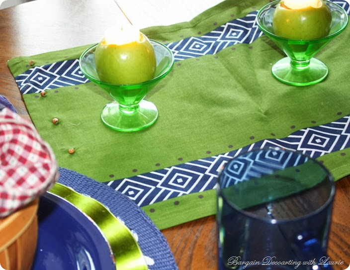 Navy and Apple Green Table-Bargain Decorating with Laurie