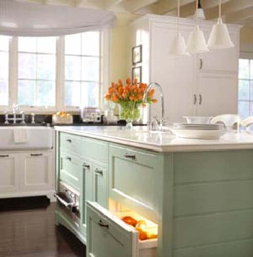 Design ? Makeover Monday Painted Blue and Green Kitchen Cabinets