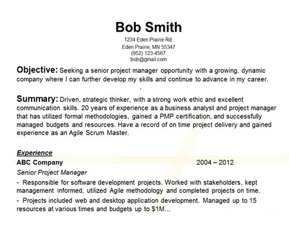 resume format  example resume paragraph form