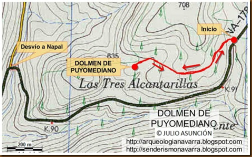 Mapa dolmen de Puyomediano