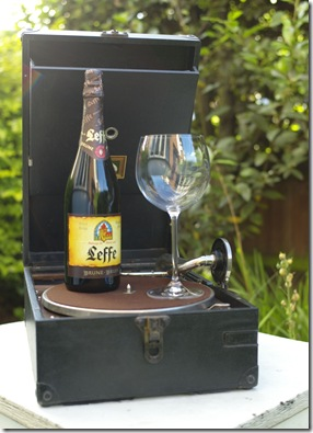 Leffe bottle on portable