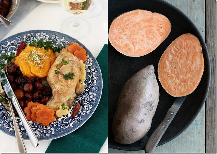 Udka królicze w śmietanie, pieczraki w sosie balsamico i słodkie ziemniaki1