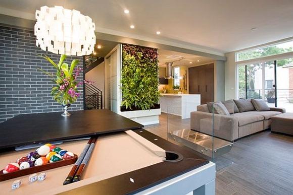 Pared verde plantas de la sala de estar