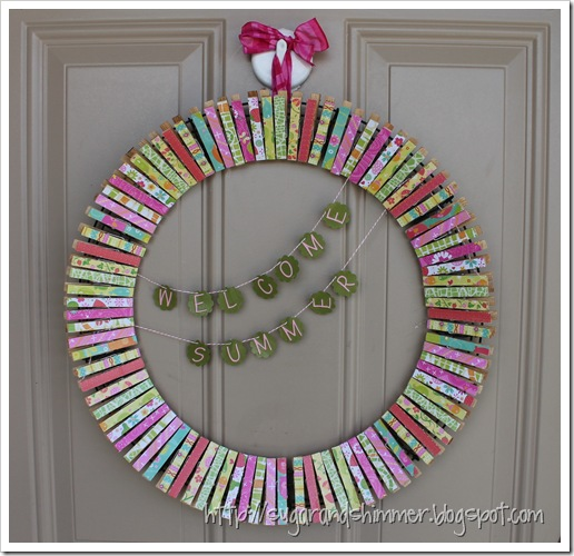 Sugar and Shimmer - Clothespin Wreath