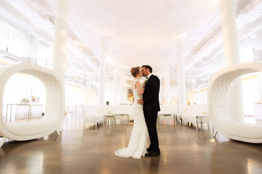 Lisa and Alex dancing amongst the sleek white decor (courtesy of Luxe Rentals) in our bridal market party.