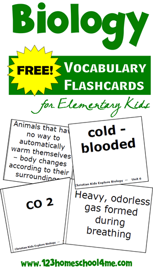 FREE Biology Vocabulary Flashcards for Elementary Homeschool Kids