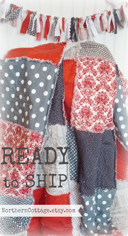 {NorthernCottage} rts red grey quilt