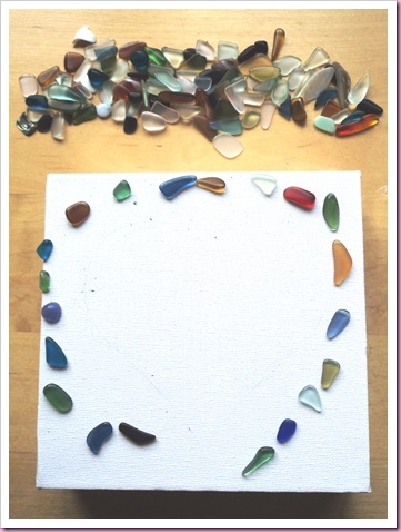 sea glass heart canvas