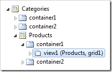 'View1' for Products on the Products page in Code On Time Project Explorer