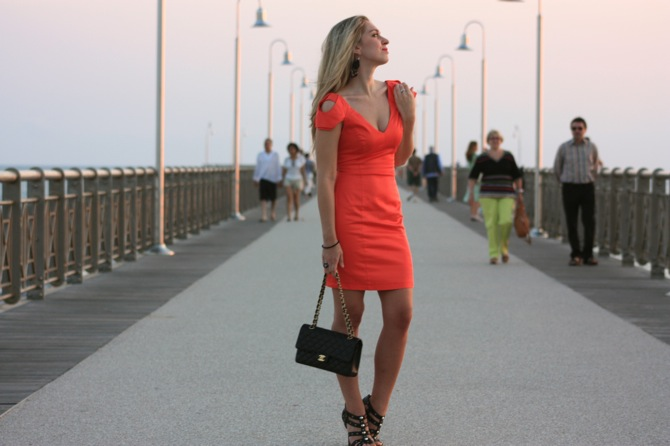 lipsy orange dress, jimmy choo for h&m shoes