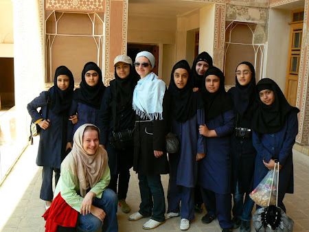 Kashan: posing for Iran school girls
