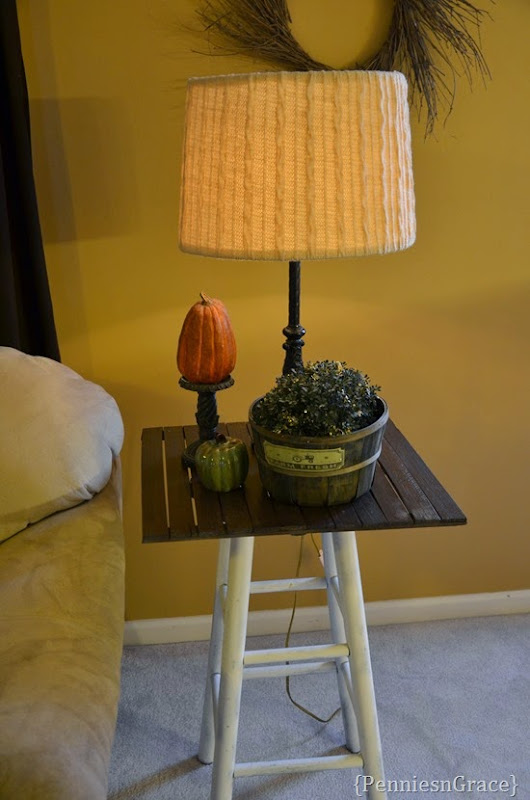 Side table from stool