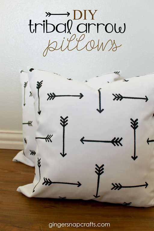 DIY Tribal Arrow Pillows at GingerSnapCrafts.com #paintapillow #ad #stencil #diy #pillow