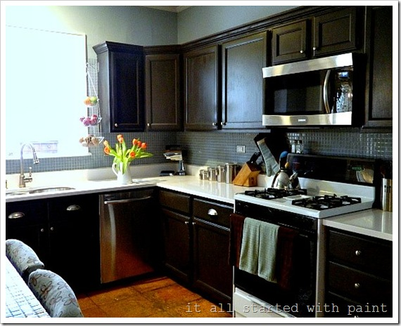 Painting builder grade oak cabinets what i did it all for Dark brown painted kitchen cabinets