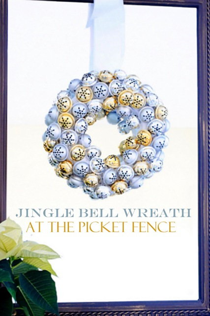 Dollar Tree Jingle Bell Wreath from At The Picket Fence