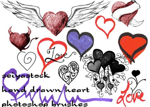 Hand-Drawn-Heart-Brushes
