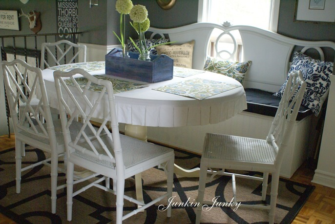 Faux bamboo Chippendale chairs at JunkyJunky.Blogspot.com