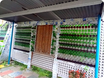 glass-bottle fence in backyard