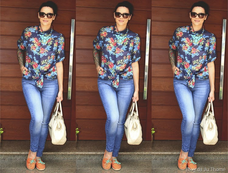look calác jeans, camisa floral e dockside2