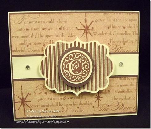 Brenda Rutt monogram La Belle Vie Christmas card