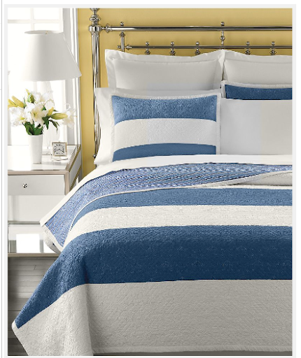 Blue stripes are the classic bedspread choice for beach homes. Martha Stewart Collection. (macys.com)