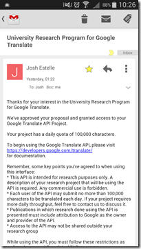Google-Translate-API-University-Research-Program