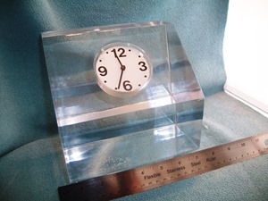 Lucite block clock with Ritz Italora mechanism