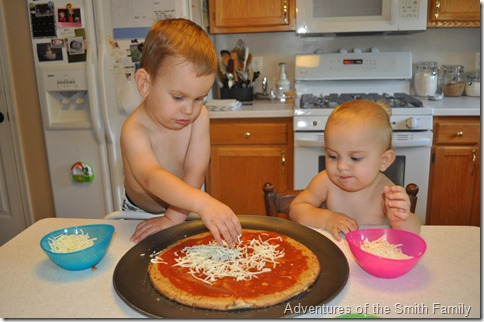 Pizza night, kids in the kitchen, pizza