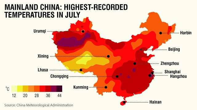 Mainland China: Highest-recorded temperatures in July 2013. Graphic: CNN / China Meteorological Administration