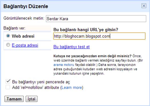 Blogger Link Eklme
