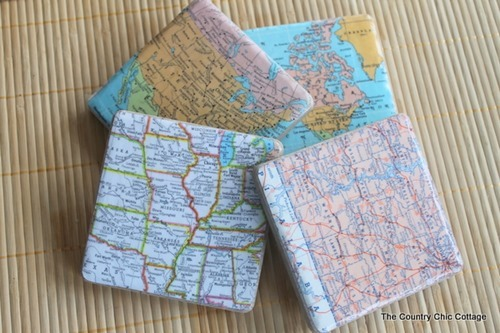 cheap craft diy mod podged map tile coasters